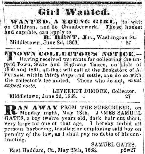 Classifieds, June 3, 1863