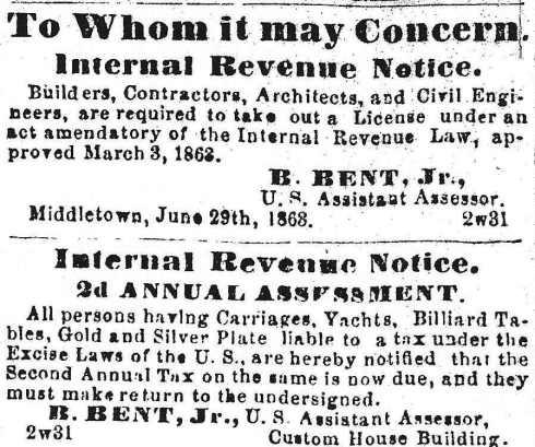 Tax notices, 1863