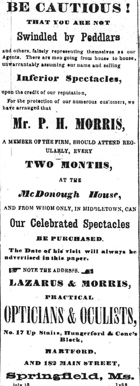 Ad for oculist, 1863