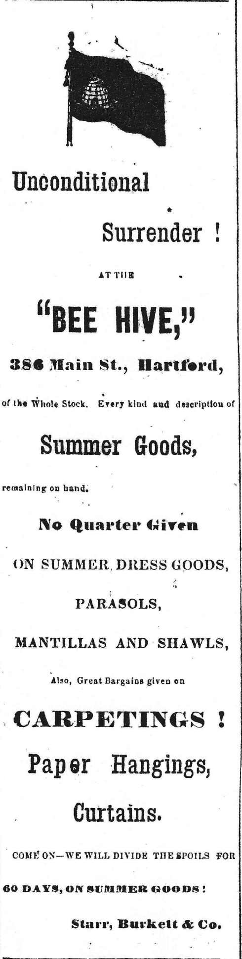Ad for the Bee Hive, of Hartford