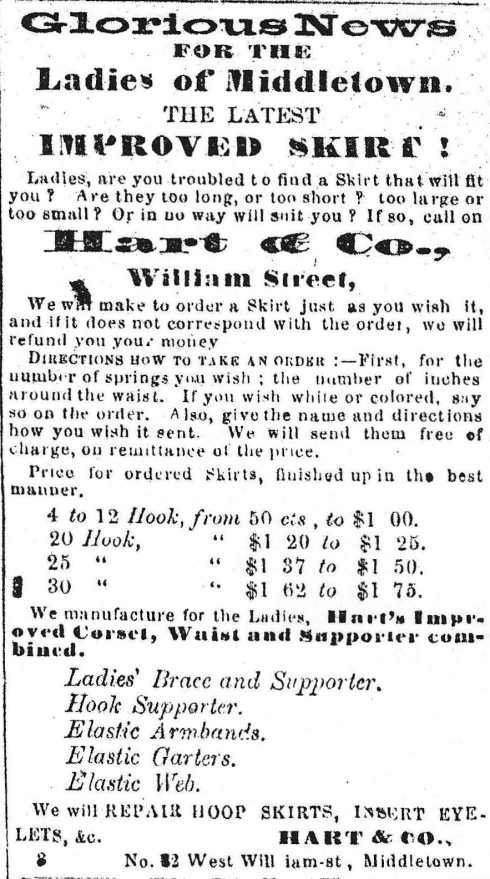 Ad for ladies' skirts, 1863