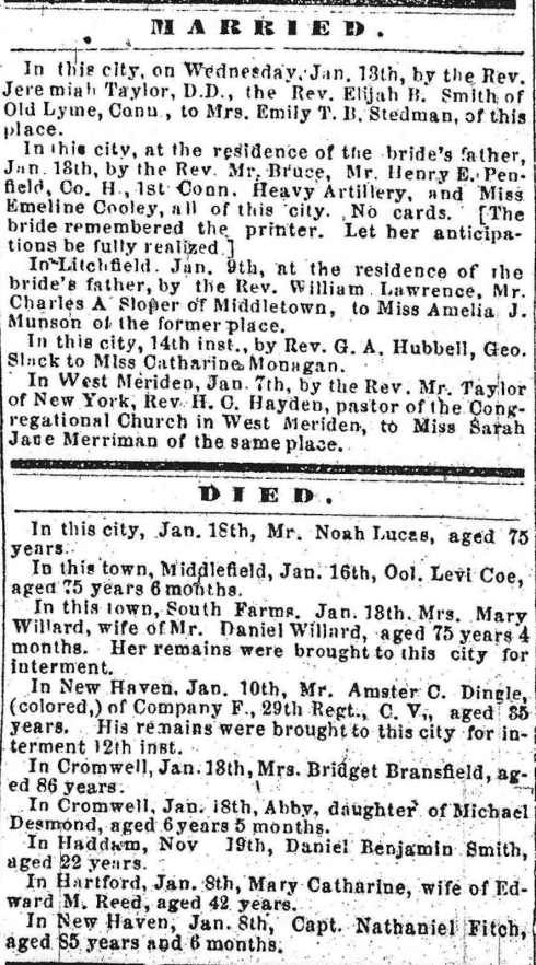 Marriage, Death Notices