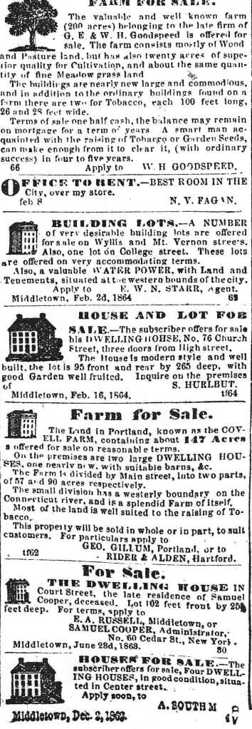 Property for sale, 1864.