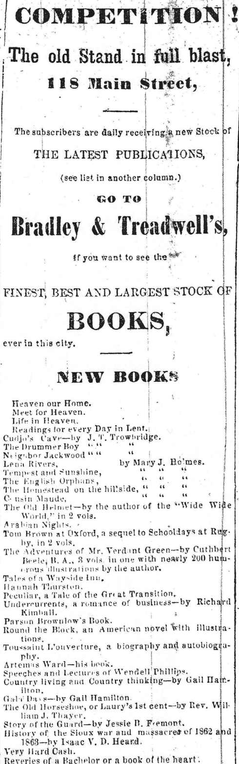 Books for sale, 1864.