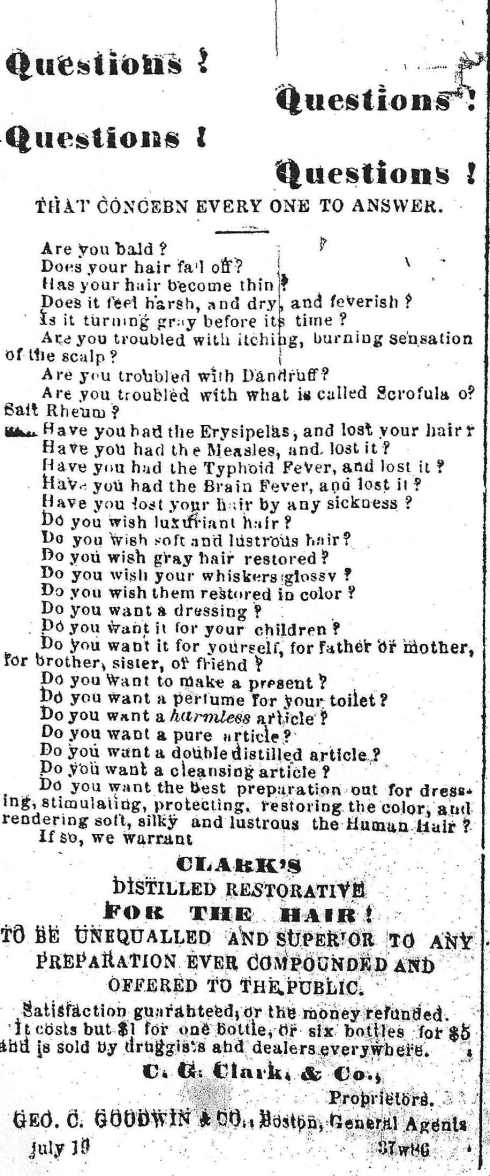 Hair restoration ad, 1864