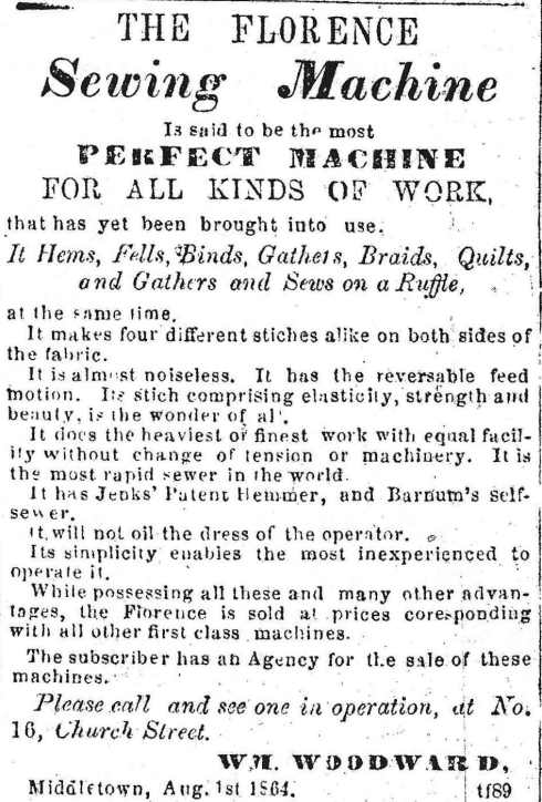 Sewing machine ad, 1864