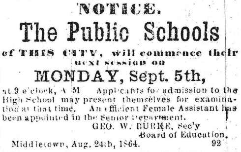 School year begins, 1864