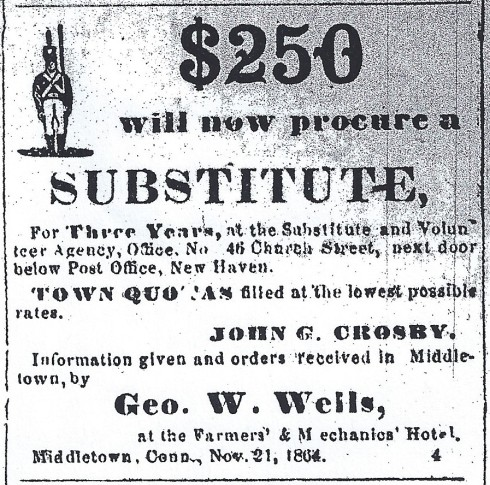 1864 ad for substitutes