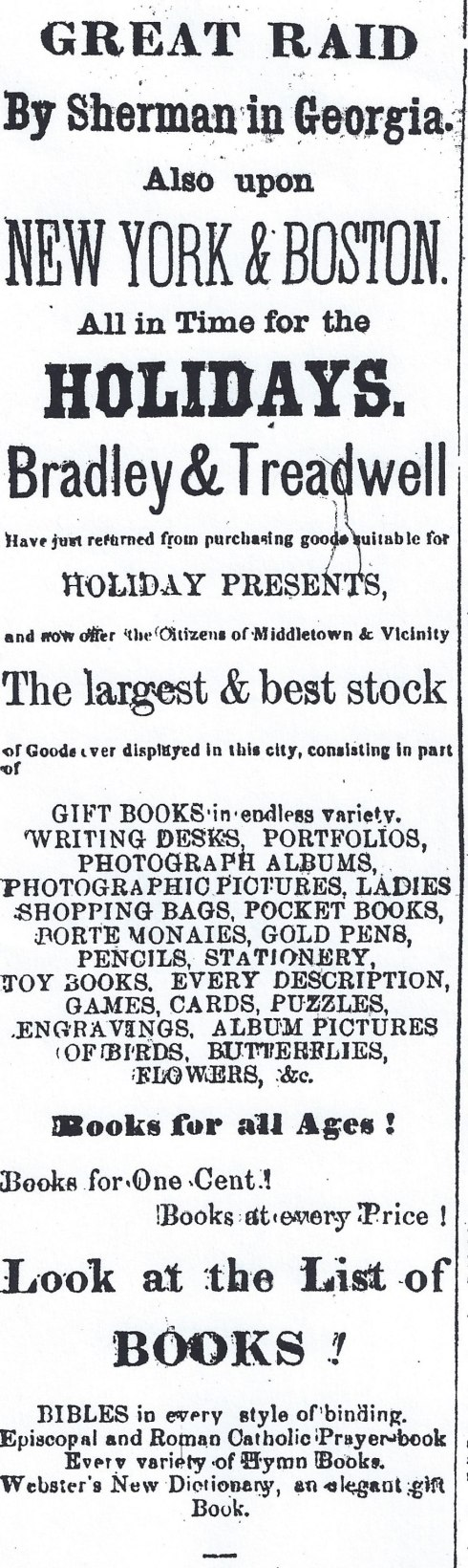 Ad for Christmas books, 1864