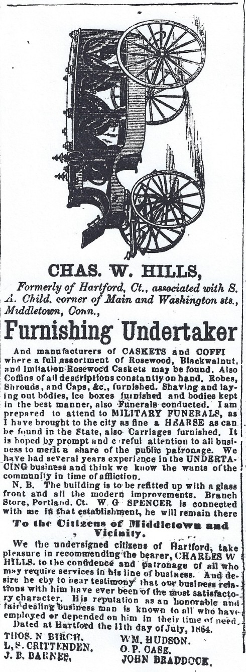 Funeral ad, 1865