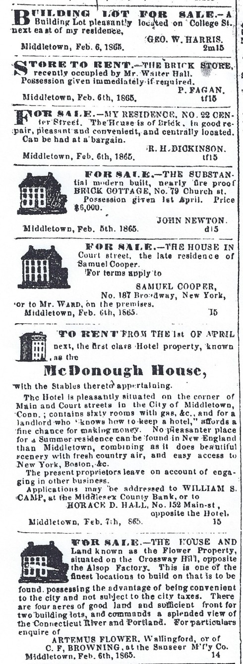 Middletown real estate, 1865