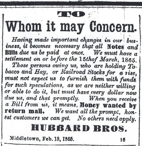 Dunning notice, 1865