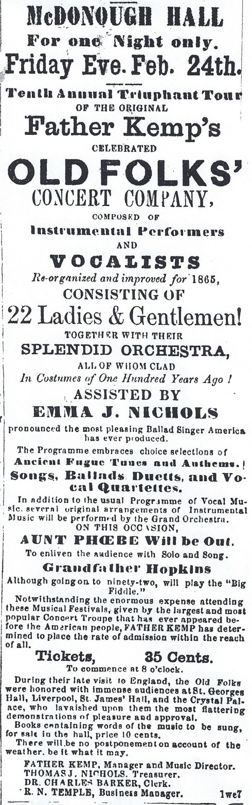 Old Folks Concert, 1865