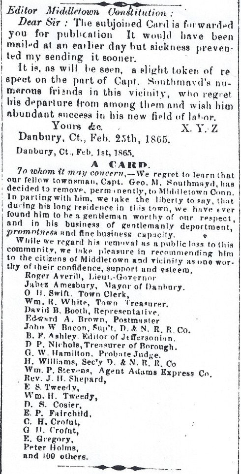 Card of appreciation, 1865