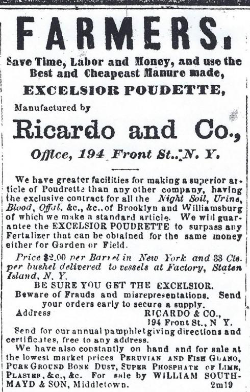1865 manure ad