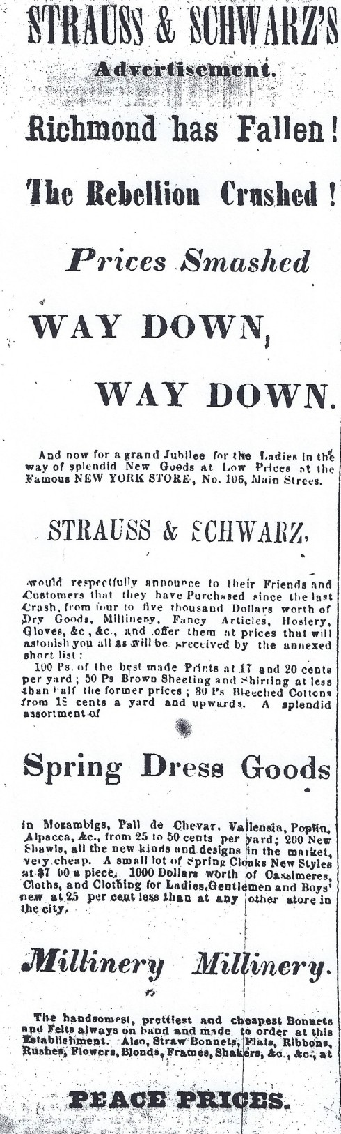 Peace prices ad 1865 1