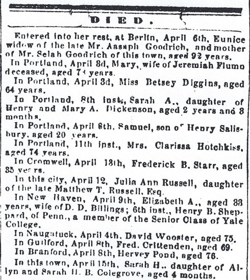 Middletown obituaries, April 1865