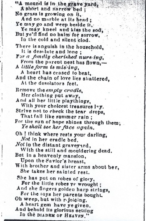 Obituary poem, 1865