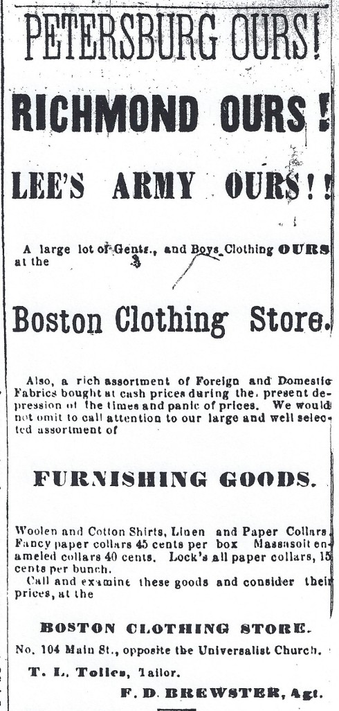 1865 ad - peacetime low prices!