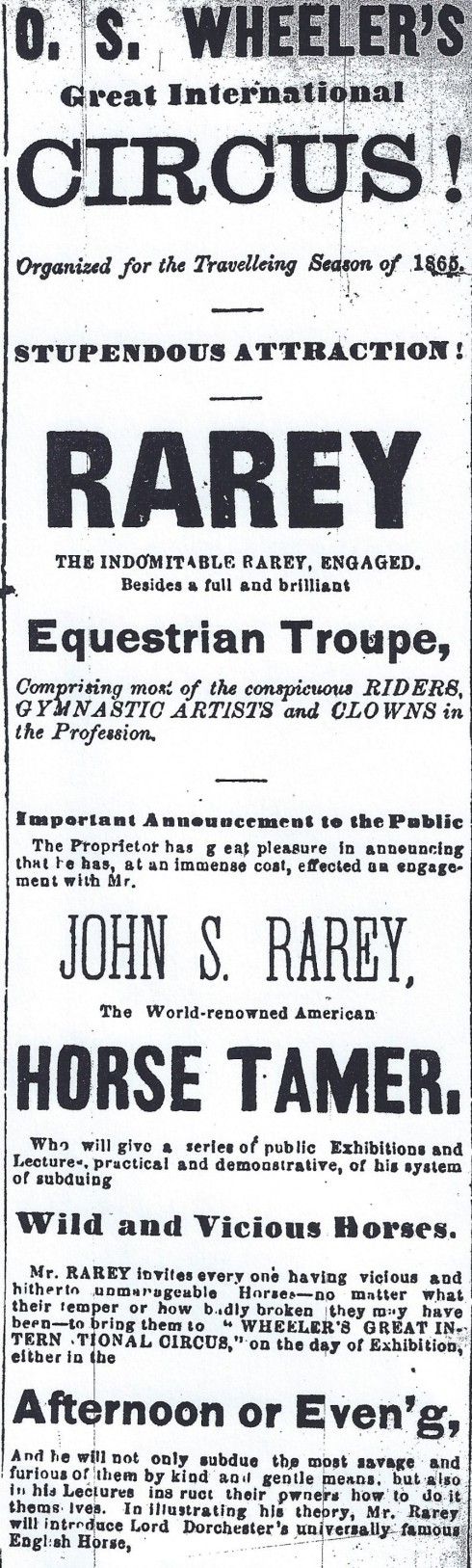 1865 Circus comes to town!
