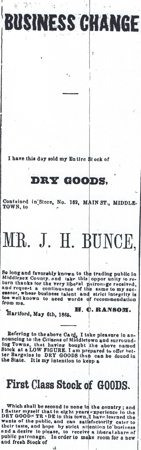 Bunce ad 1865